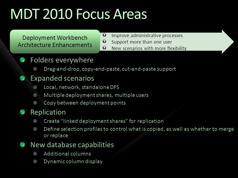 Deployment Workbench Architecture Enhancements Improve administrative processes Support more than one user New scenarios with more flexibility MDT 201
