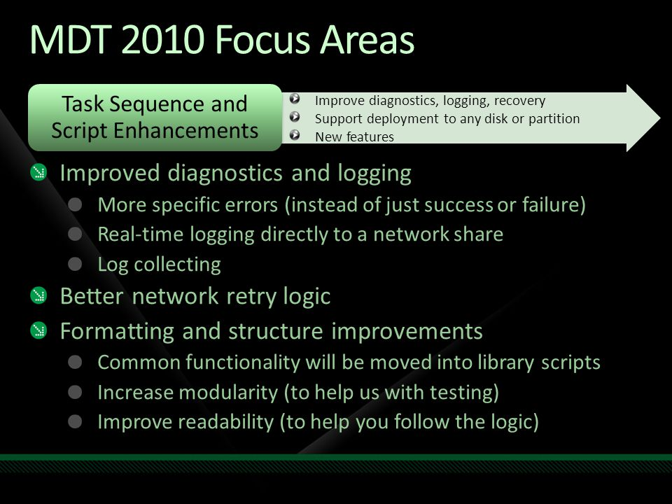 Task Sequence and Script Enhancements MDT 2010 Focus Areas Improved diagnostics and logging More specific errors (instead of just success or failure) Real-time logging directly to a network share Log collecting Better network retry logic Formatting and structure improvements Common functionality will be moved into library scripts Increase modularity (to help us with testing) Improve readability (to help you follow the logic) Improve diagnostics, logging, recovery Support deployment to any disk or partition New features