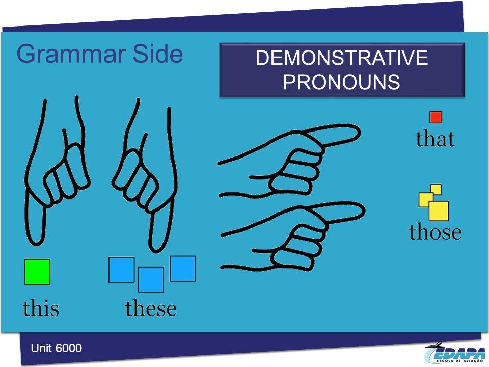Grammar Side DEMONSTRATIVE PRONOUNS Unit 6000