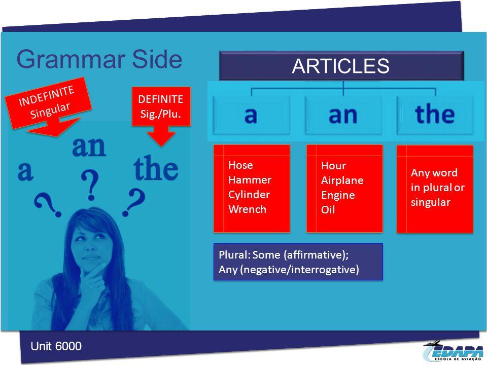 Grammar Side ARTICLES Unit 6000 DEFINITE Sig./Plu.