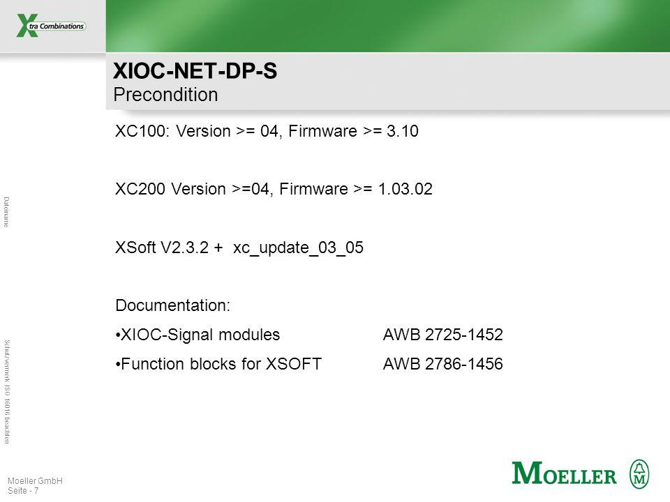 Dateiname Schutzvermerk ISO 16016 beachten Moeller GmbH Seite - 7 XC100: Version >= 04, Firmware >= 3.10 XC200 Version >=04, Firmware >= 1.03.02 XSoft V2.3.2 + xc_update_03_05 Documentation: XIOC-Signal modules AWB 2725-1452 Function blocks for XSOFTAWB 2786-1456 XIOC-NET-DP-S Precondition