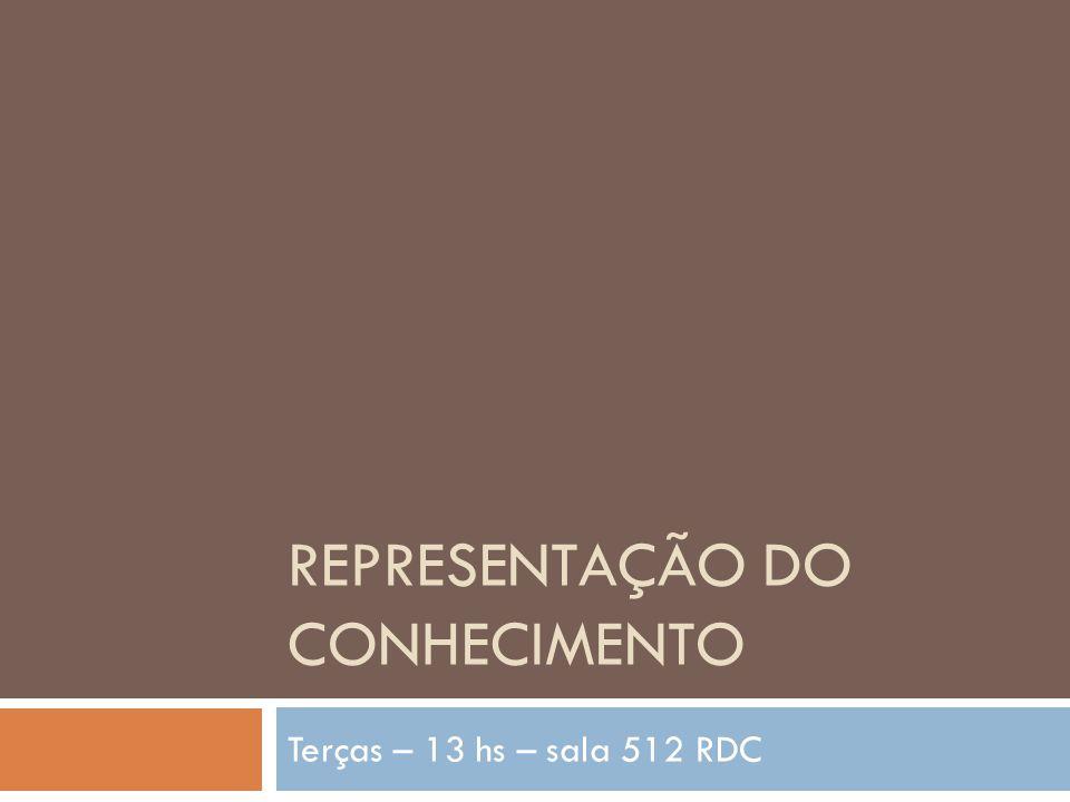 REPRESENTAÇÃO DO CONHECIMENTO Terças – 13 hs – sala 512 RDC
