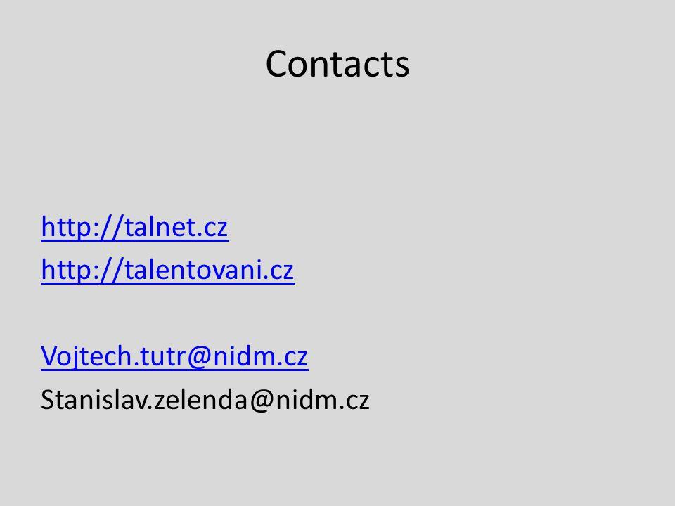 Contacts http://talnet.cz http://talentovani.cz Vojtech.tutr@nidm.cz Stanislav.zelenda@nidm.cz