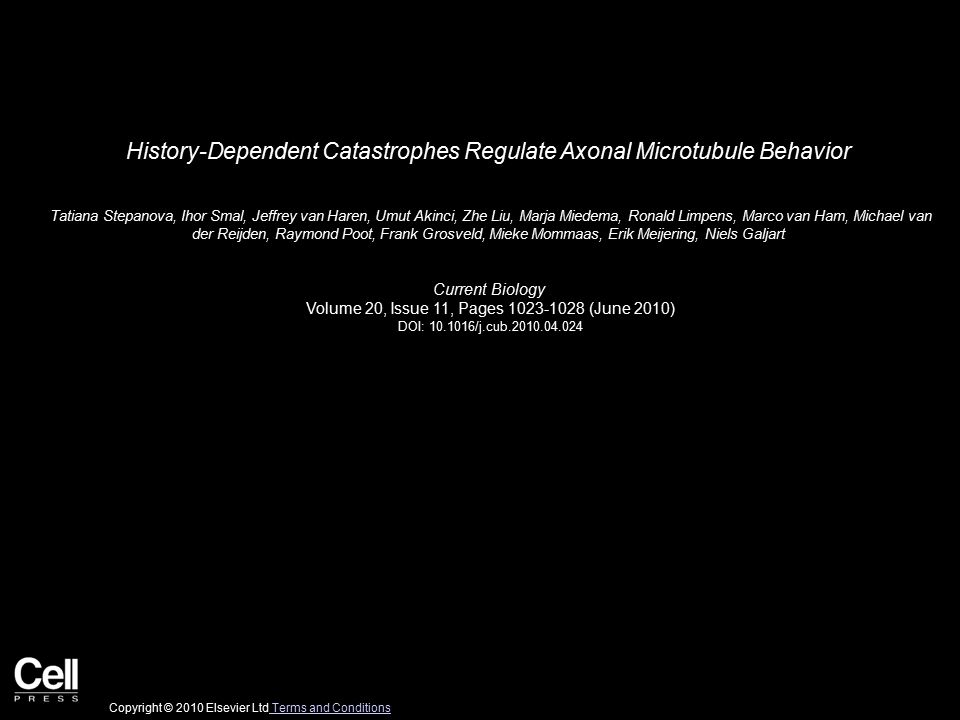 History-Dependent Catastrophes Regulate Axonal Microtubule Behavior Tatiana Stepanova, Ihor Smal, Jeffrey van Haren, Umut Akinci, Zhe Liu, Marja Miede