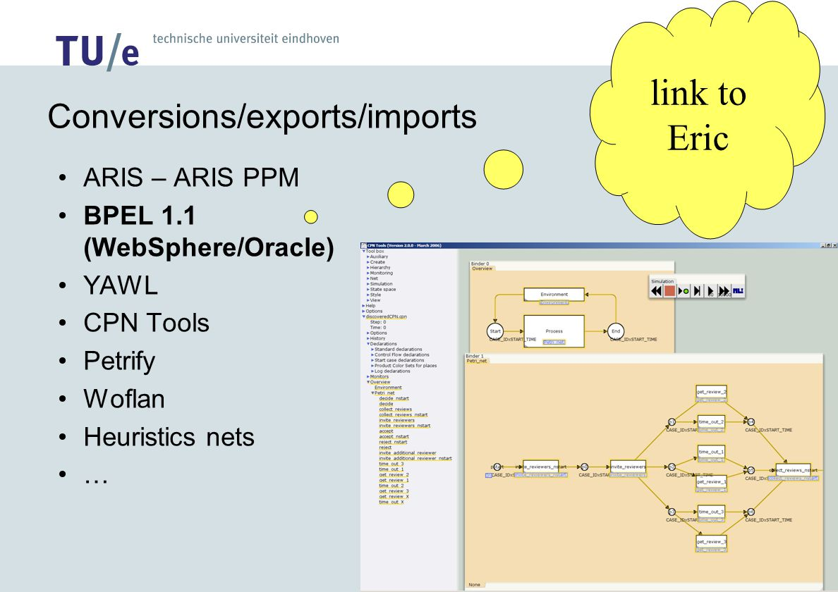 Conversions/exports/imports ARIS – ARIS PPM BPEL 1.1 (WebSphere/Oracle) YAWL CPN Tools Petrify Woflan Heuristics nets … link to Eric