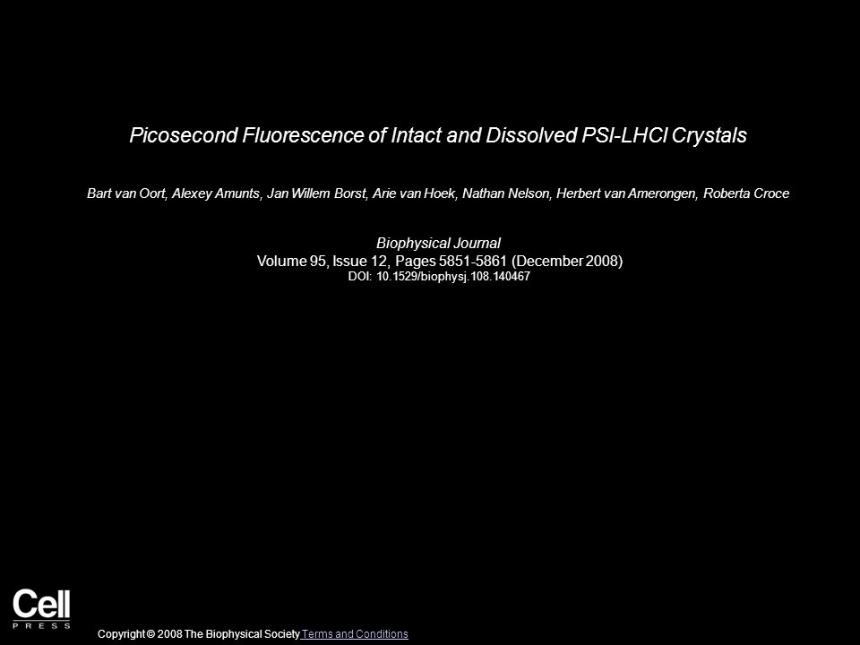 Picosecond Fluorescence of Intact and Dissolved PSI-LHCI Crystals Bart van Oort, Alexey Amunts, Jan Willem Borst, Arie van Hoek, Nathan Nelson, Herbert van Amerongen, Roberta Croce Biophysical Journal Volume 95, Issue 12, Pages 5851-5861 (December 2008) DOI: 10.1529/biophysj.108.140467 Copyright © 2008 The Biophysical Society Terms and Conditions Terms and Conditions