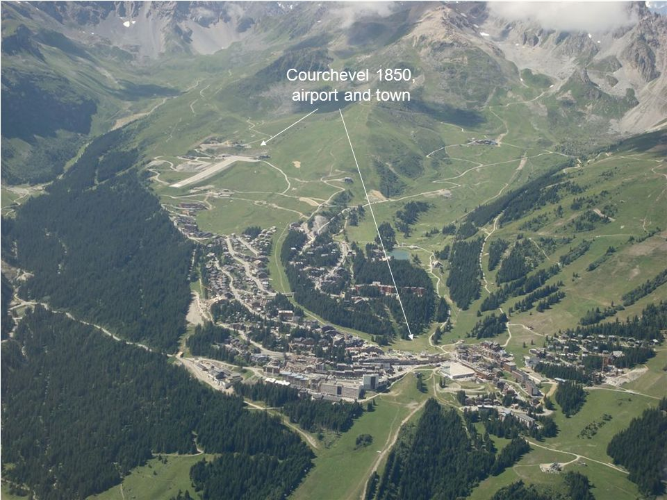 Courchevel 1850, airport and town