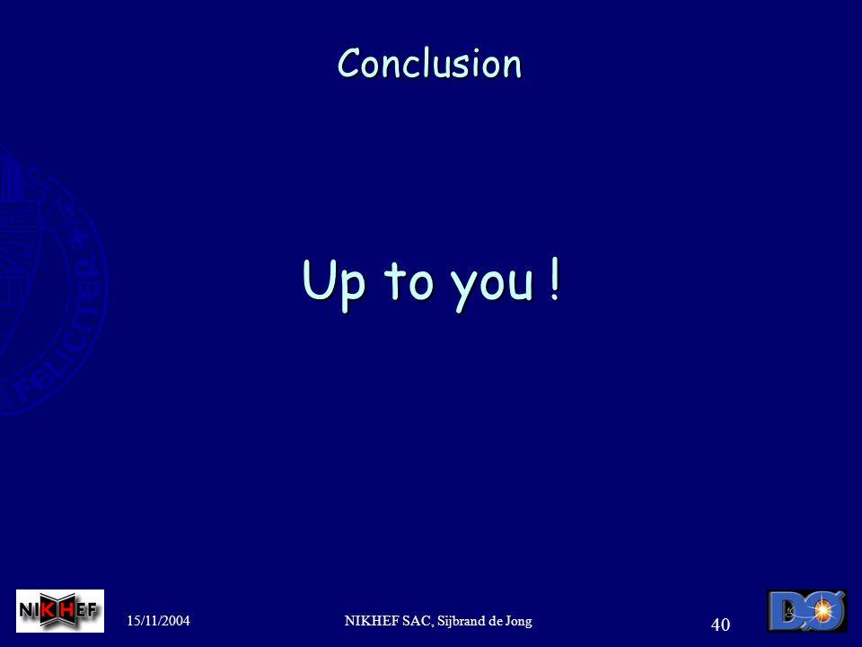 15/11/2004NIKHEF SAC, Sijbrand de Jong 40 Conclusion Up to you !