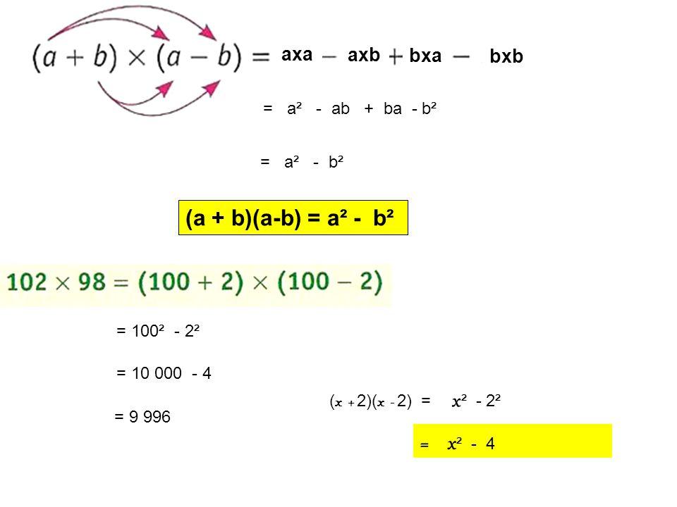 axa axb bxa bxb = a² - ab + ba - b² = a² - b² (a + b)(a-b) = a² - b² = 100² - 2² = 10 000 - 4 = 9 996 ( x + 2)( x - 2) = x ² - 2² = x ² - 4