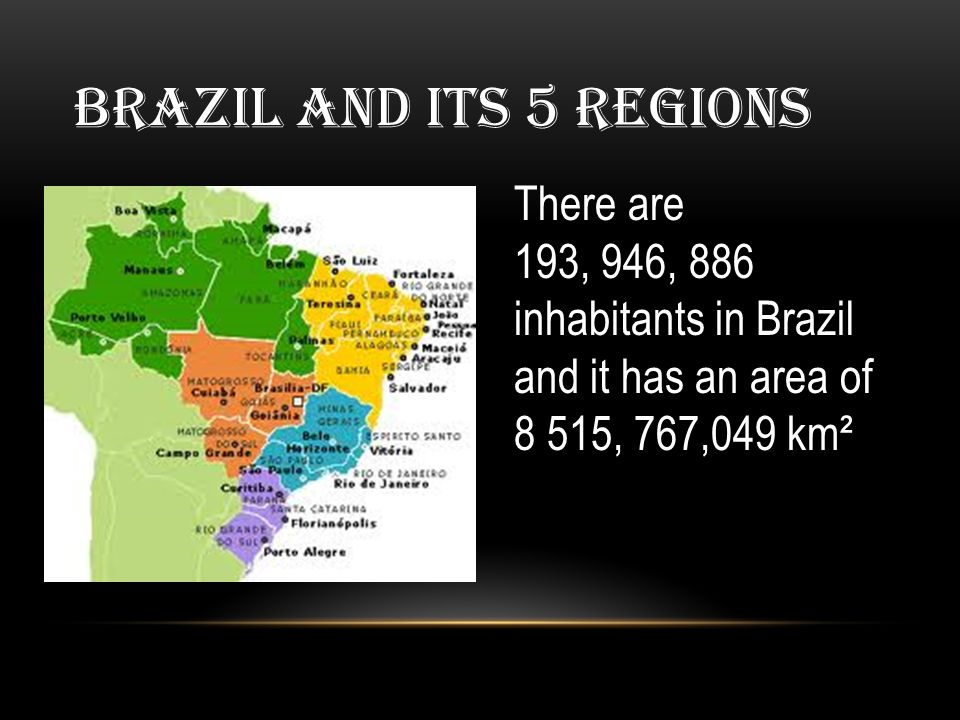 Brazil AND ITS 5 REGIONS There are 193, 946, 886 inhabitants in Brazil and it has an area of 8 515, 767,049 km²