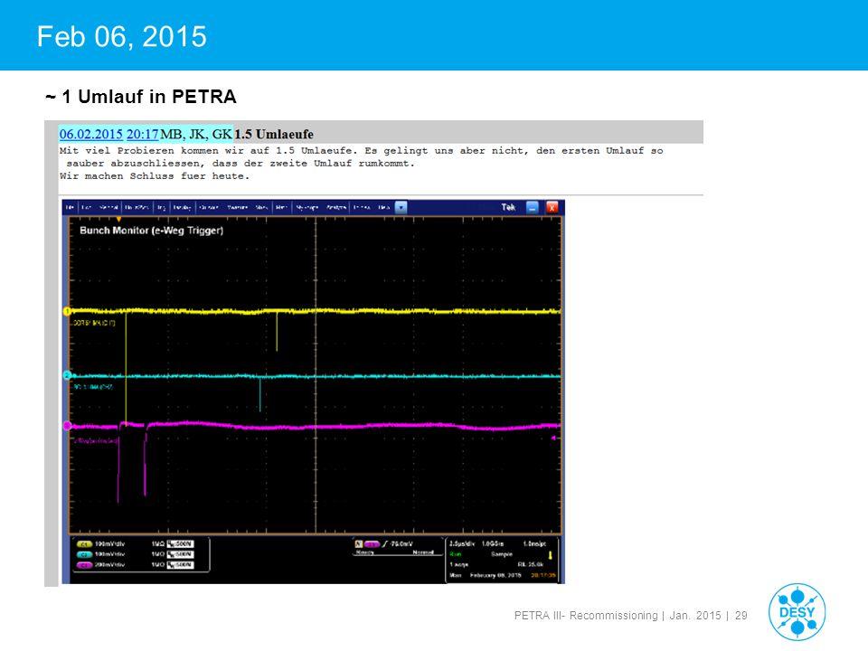 PETRA III- Recommissioning | Jan. 2015 | 29 Feb 06, 2015 ~ 1 Umlauf in PETRA