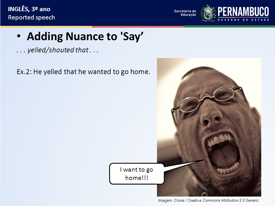 Adding Nuance to Say'... yelled/shouted that... Ex.2: He yelled that he wanted to go home.