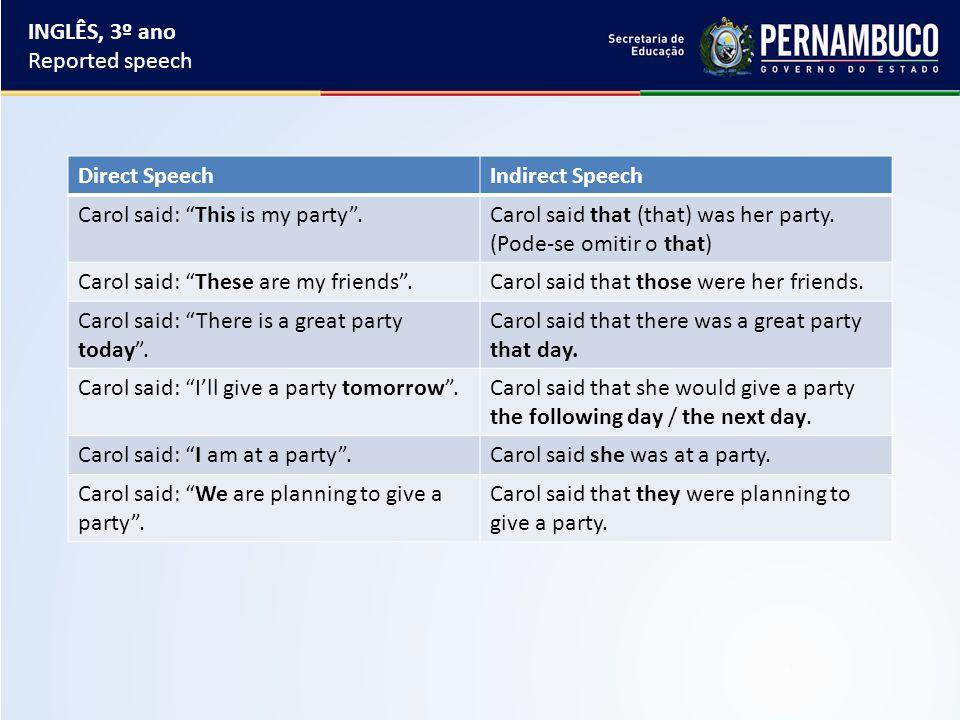 Direct SpeechIndirect Speech Carol said: This is my party .Carol said that (that) was her party.