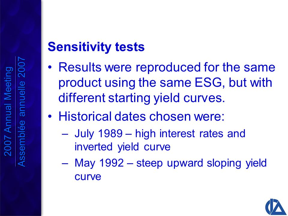 Sensitivity tests Results were reproduced for the same product using the same ESG, but with different starting yield curves.