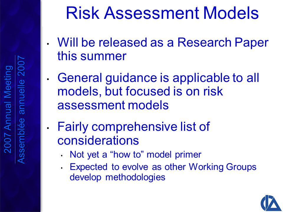 2007 Annual Meeting Assemblée annuelle 2007 One year risk neutral method