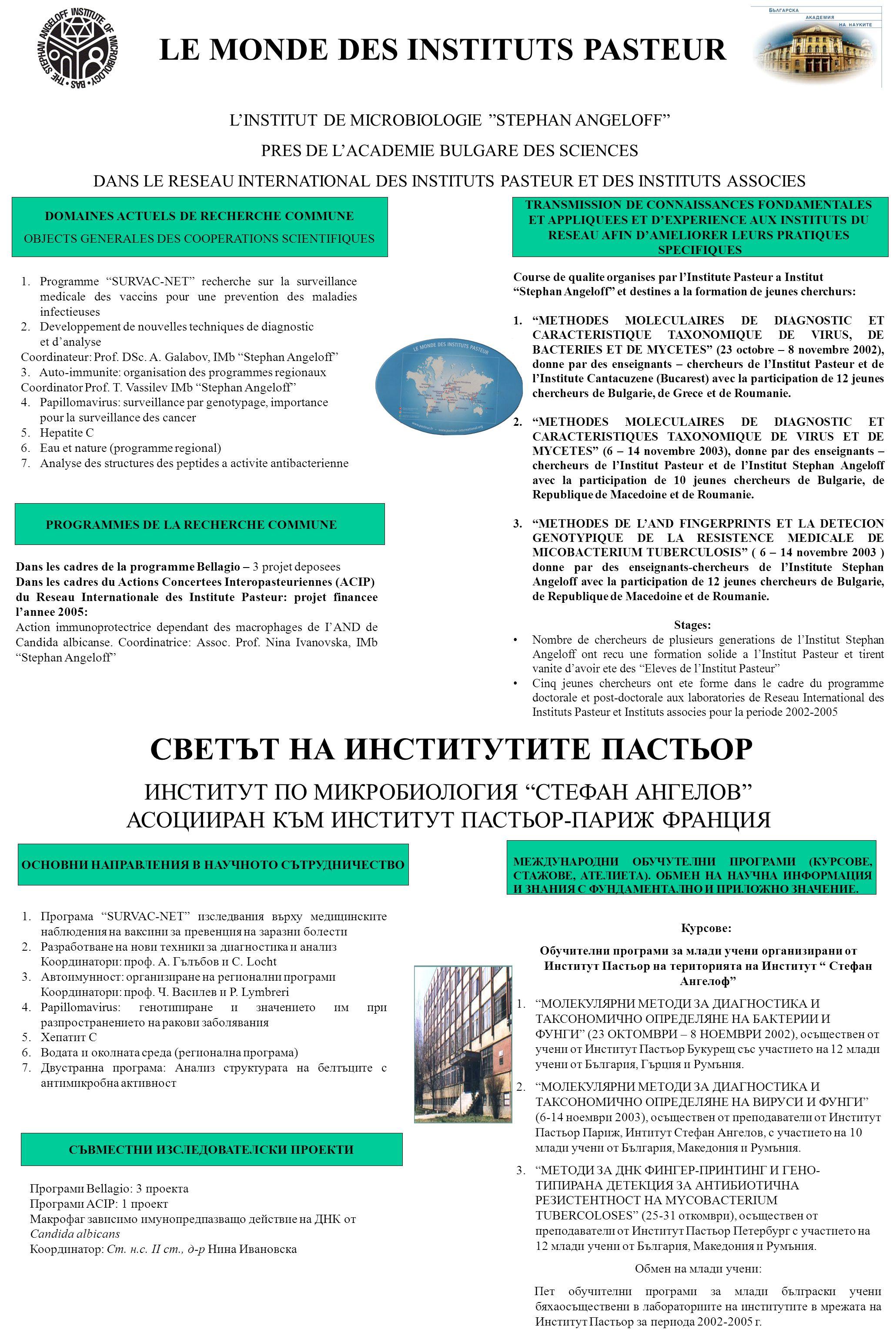 LE MONDE DES INSTITUTS PASTEUR L'INSTITUT DE MICROBIOLOGIE STEPHAN ANGELOFF PRES DE L'ACADEMIE BULGARE DES SCIENCES DANS LE RESEAU INTERNATIONAL DES INSTITUTS PASTEUR ET DES INSTITUTS ASSOCIES DOMAINES ACTUELS DE RECHERCHE COMMUNE OBJECTS GENERALES DES COOPERATIONS SCIENTIFIQUES TRANSMISSION DE CONNAISSANCES FONDAMENTALES ET APPLIQUEES ET D'EXPERIENCE AUX INSTITUTS DU RESEAU AFIN D'AMELIORER LEURS PRATIQUES SPECIFIQUES 1.Programme SURVAC-NET recherche sur la surveillance medicale des vaccins pour une prevention des maladies infectieuses 2.Developpement de nouvelles techniques de diagnostic et d'analyse Coordinateur: Prof.