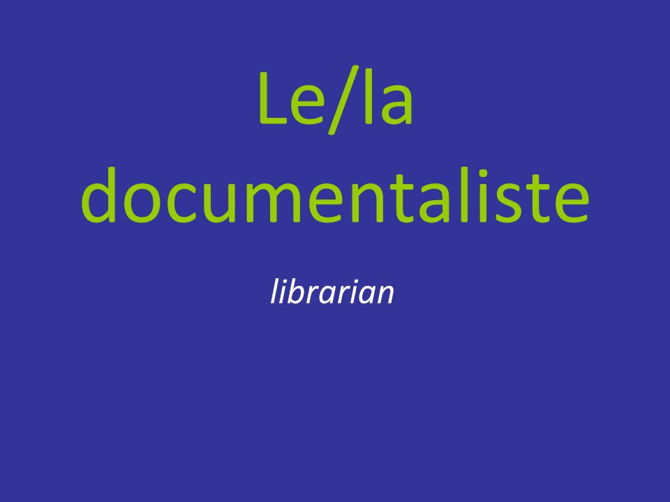 Le/la documentaliste librarian