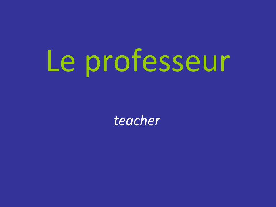Le professeur teacher