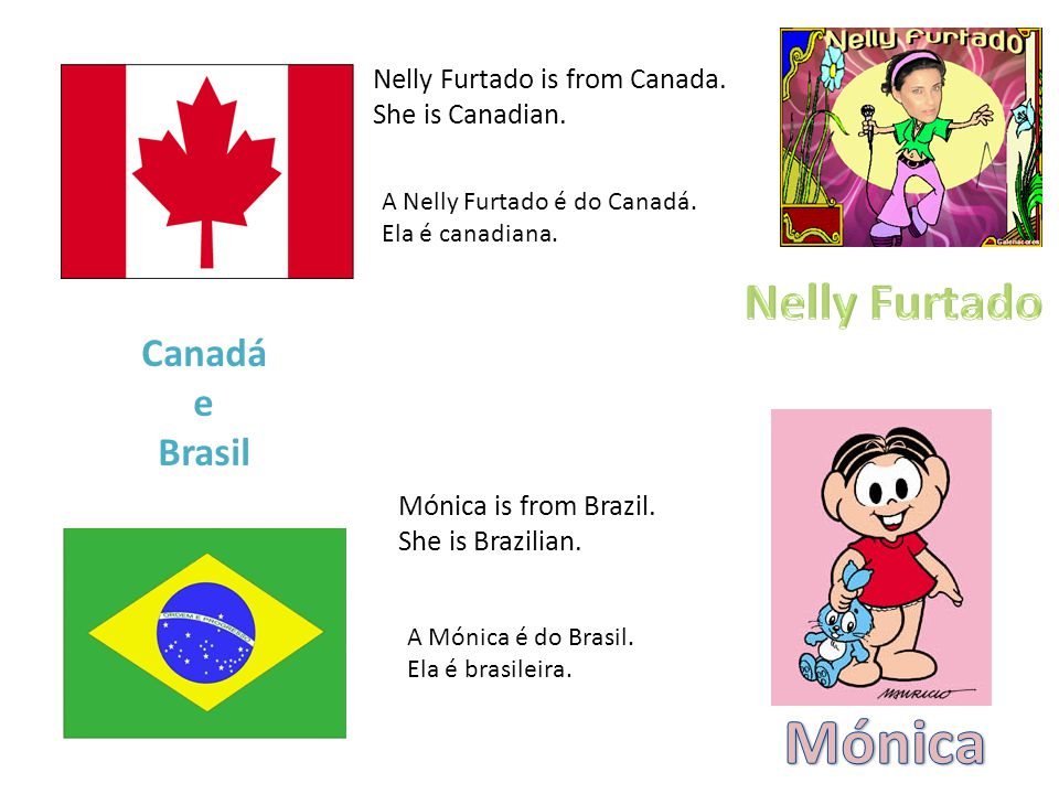 Nelly Furtado is from Canada. She is Canadian. A Nelly Furtado é do Canadá.