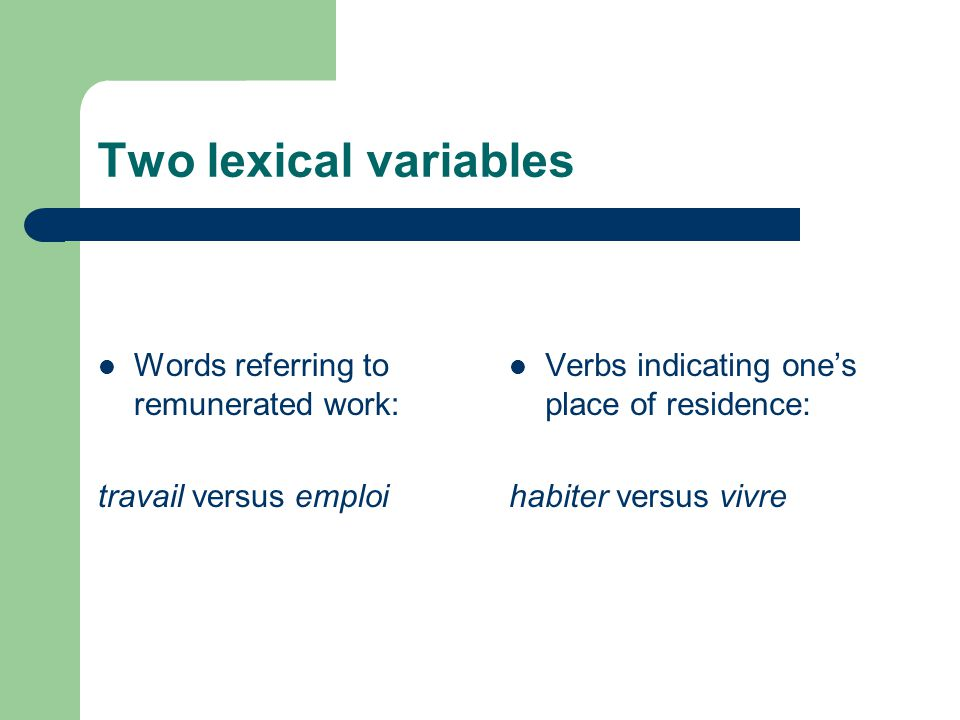 Two lexical variables Words referring to remunerated work: travail versus emploi Verbs indicating one's place of residence: habiter versus vivre