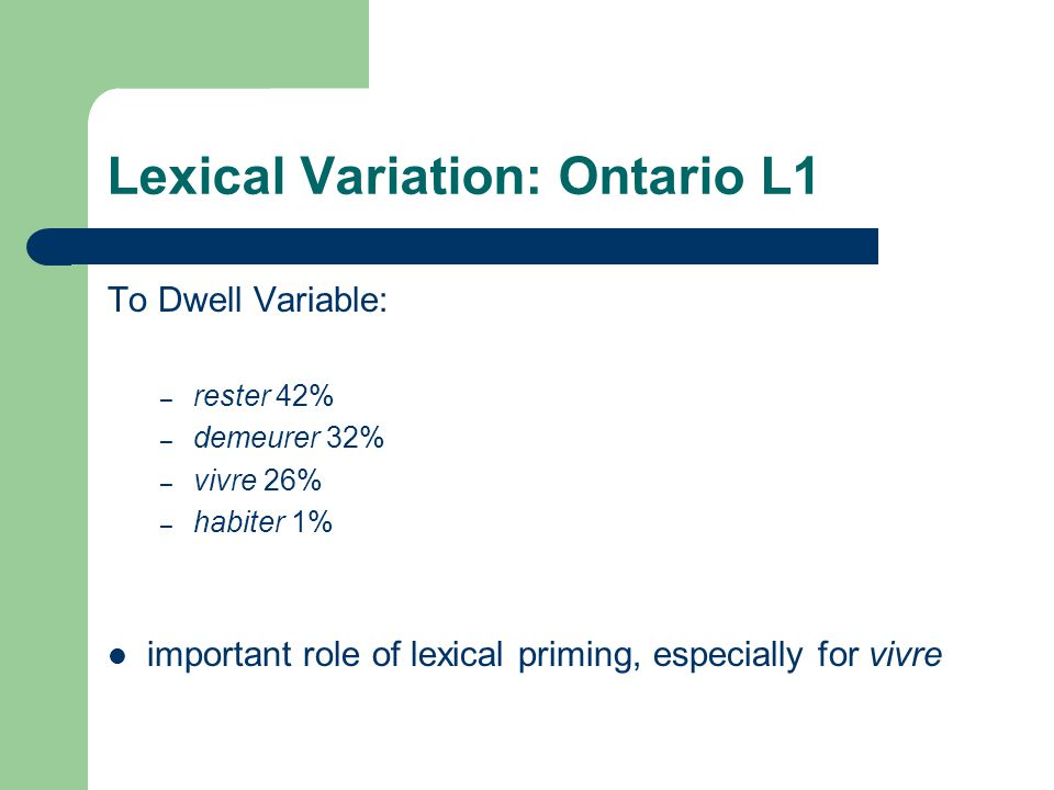 Lexical Variation: Ontario L1 To Dwell Variable: – rester 42% – demeurer 32% – vivre 26% – habiter 1% important role of lexical priming, especially for vivre