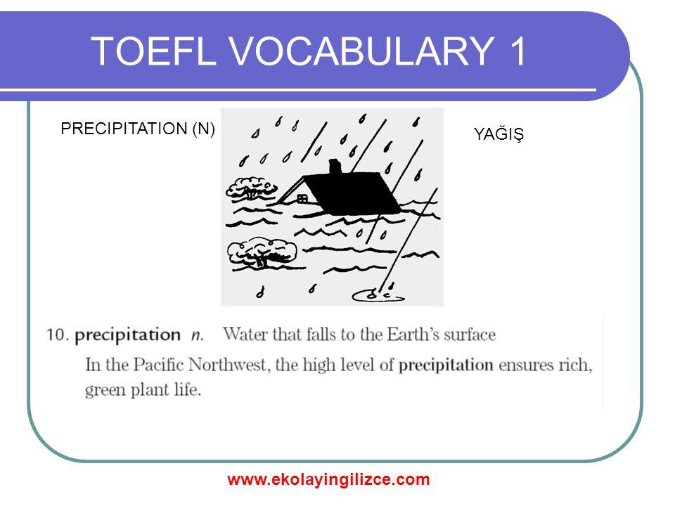 TOEFL VOCABULARY 1 PRECIPITATION (N) YAĞIŞ