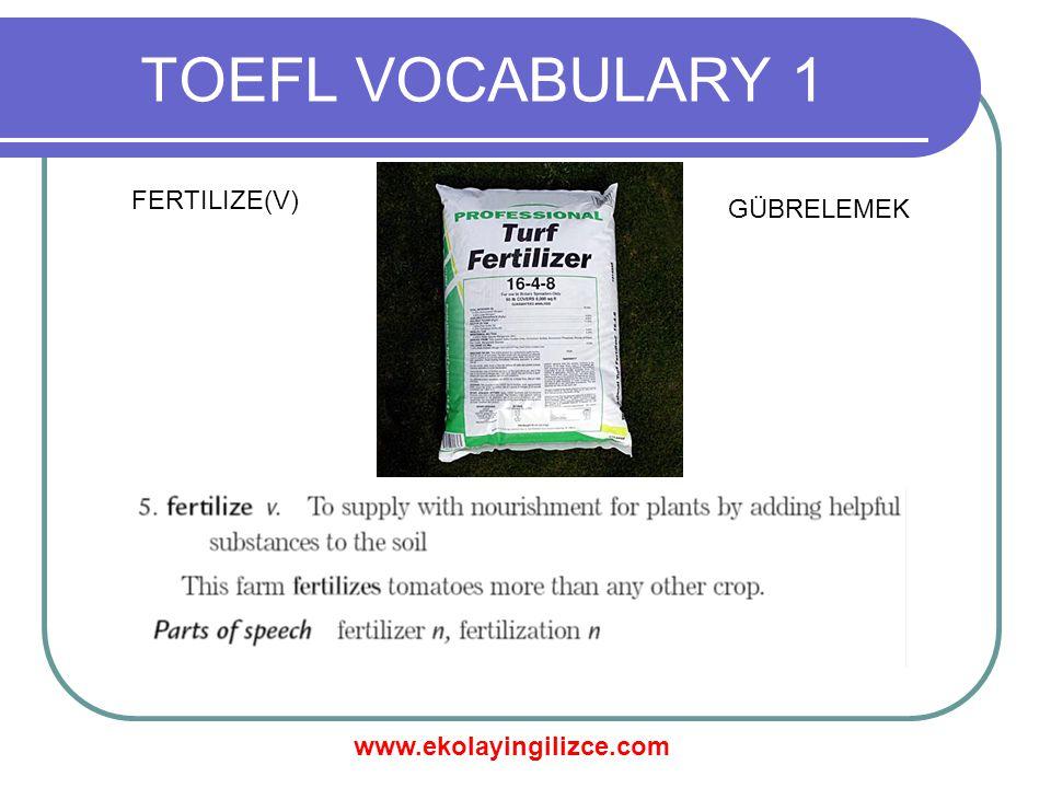 www.ekolayingilizce.com TOEFL VOCABULARY 1 FERTILIZE(V) GÜBRELEMEK