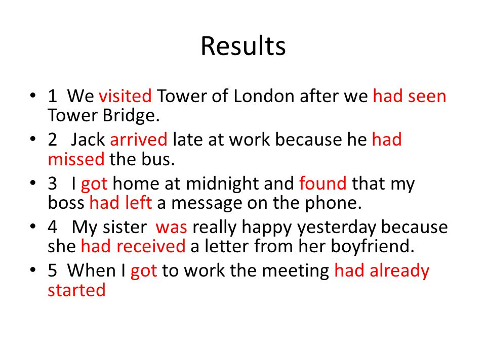 Results 1 We visited Tower of London after we had seen Tower Bridge.