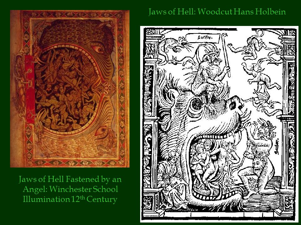 Jaws of Hell Fastened by an Angel: Winchester School Illumination 12 th Century Jaws of Hell: Woodcut Hans Holbein