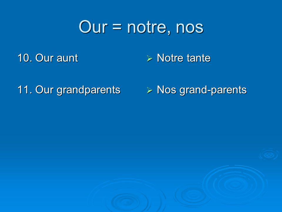 Our = notre, nos 10. Our aunt 11. Our grandparents  Notre tante  Nos grand-parents