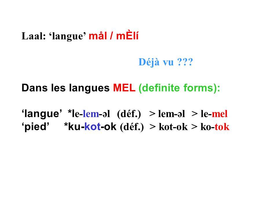 Laal: 'langue' mål / mÈlí Déjà vu ??? Dans les langues MEL (definite forms): 'langue' *l e-lem-əl (déf.) > lem-əl > le-mel 'pied' *ku-kot-ok (déf.) >