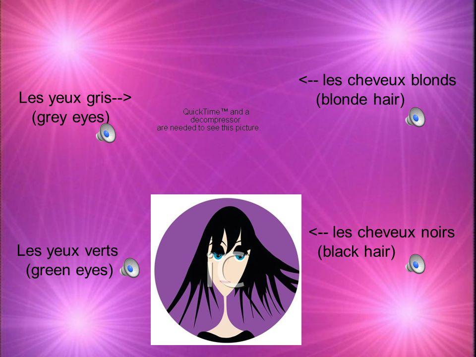 <-- les cheveux roux (red hair) -->Les yeux bleus (blue eyes) <-- les cheveux bruns (brown hair) Les yeux bruns--> (brown eyes)