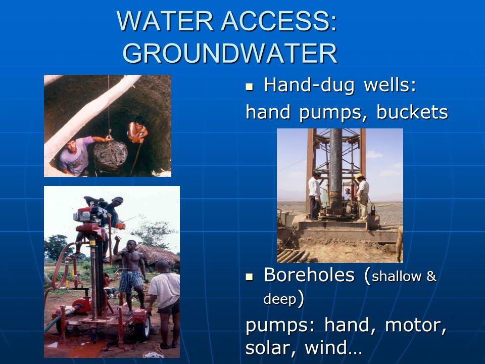 WATER ACCESS: GROUNDWATER Hand-dug wells: Hand-dug wells: hand pumps, buckets Boreholes ( shallow & deep ) Boreholes ( shallow & deep ) pumps: hand, m