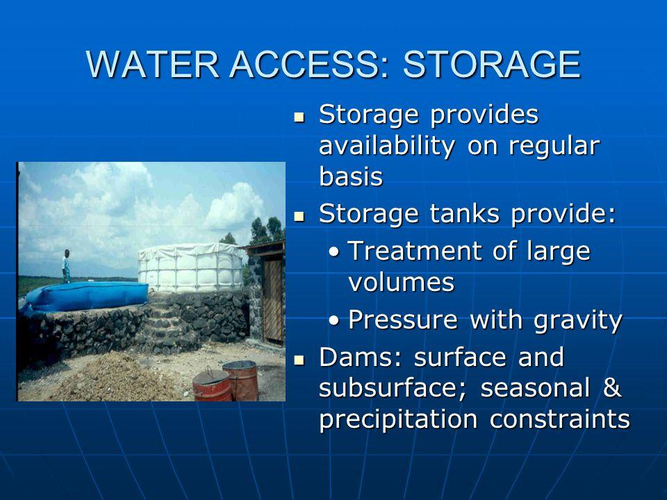 WATER ACCESS: STORAGE Storage provides availability on regular basis Storage provides availability on regular basis Storage tanks provide: Storage tan