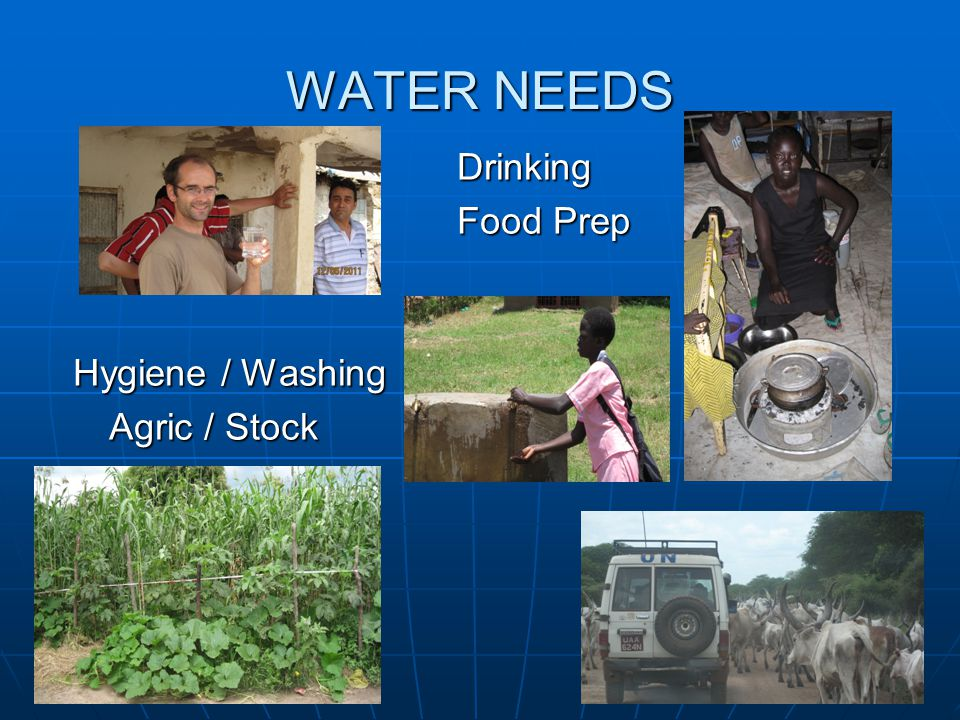 WATER NEEDS Drinking Food Prep Hygiene / Washing Agric / Stock