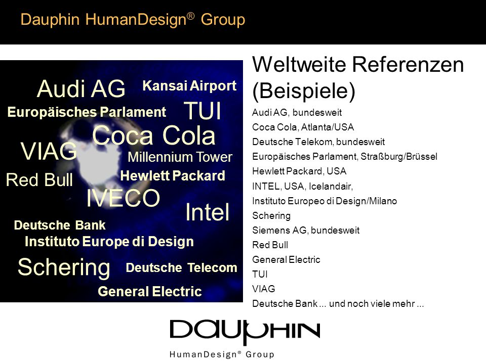 Weltweite Referenzen (Beispiele) Audi AG, bundesweit Coca Cola, Atlanta/USA Deutsche Telekom, bundesweit Europäisches Parlament, Straßburg/Brüssel Hewlett Packard, USA INTEL, USA, Icelandair, Instituto Europeo di Design/Milano Schering Siemens AG, bundesweit Red Bull General Electric TUI VIAG Deutsche Bank...