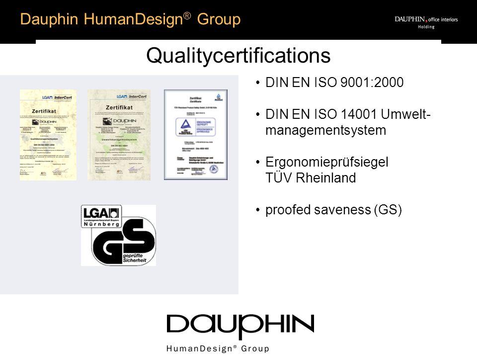 Dauphin HumanDesign ® Group Qualitycertifications DIN EN ISO 9001:2000 DIN EN ISO 14001 Umwelt- managementsystem Ergonomieprüfsiegel TÜV Rheinland pro