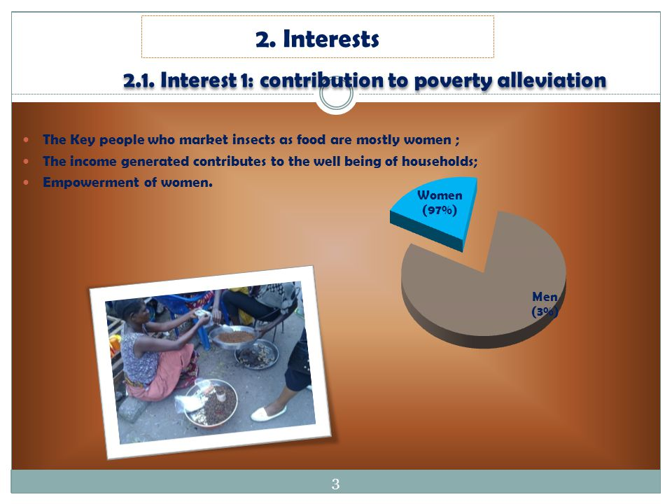 2.1. Interest 1: contribution to poverty alleviation The Key people who market insects as food are mostly women ; The income generated contributes to