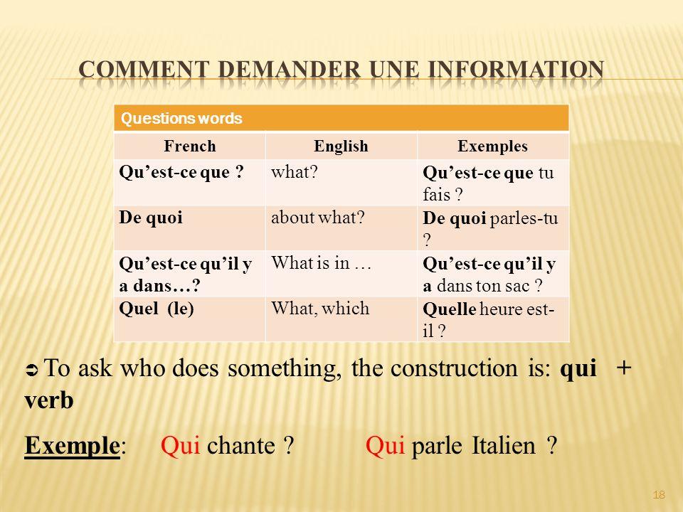 Questions words FrenchEnglishExemples Qu'est-ce que ?what?Qu'est-ce que tu fais ? De quoiabout what?De quoi parles-tu ? Qu'est-ce qu'il y a dans…? Wha