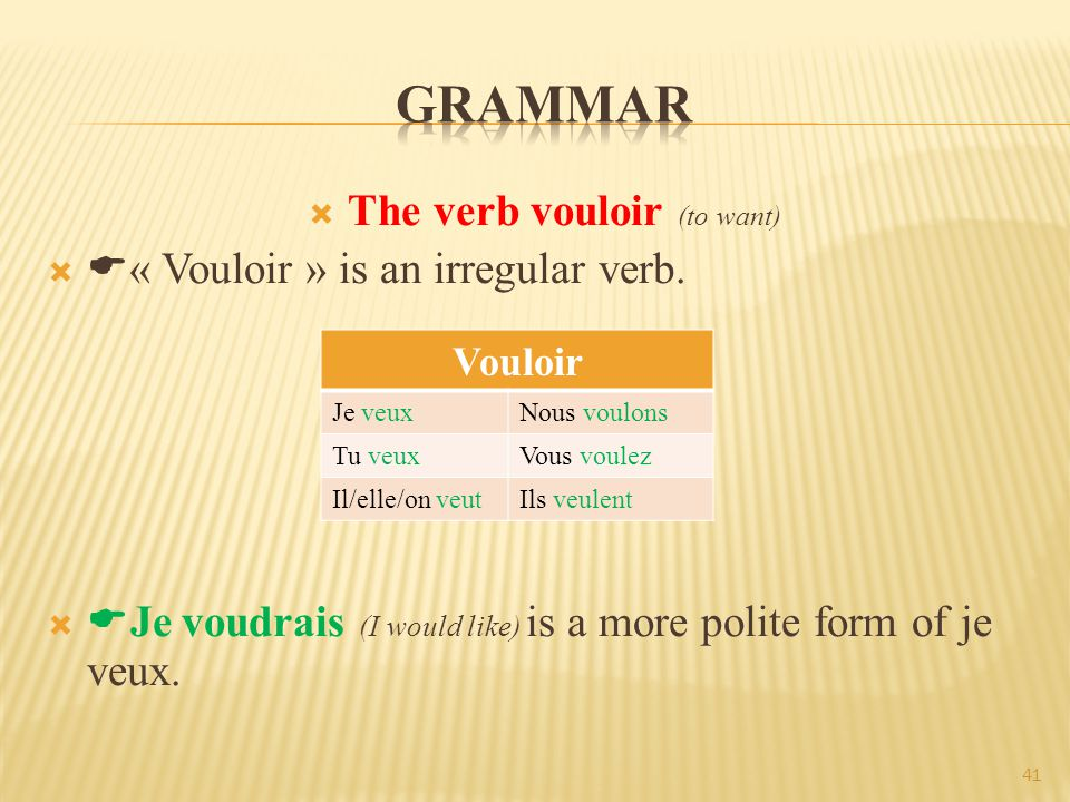  The verb vouloir (to want)   « Vouloir » is an irregular verb.