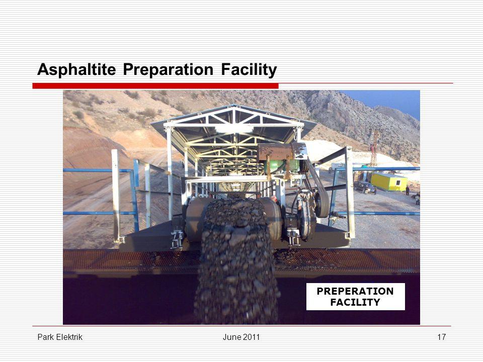 Park ElektrikJune 201117 Asphaltite Preparation Facility PREPERATION FACILITY