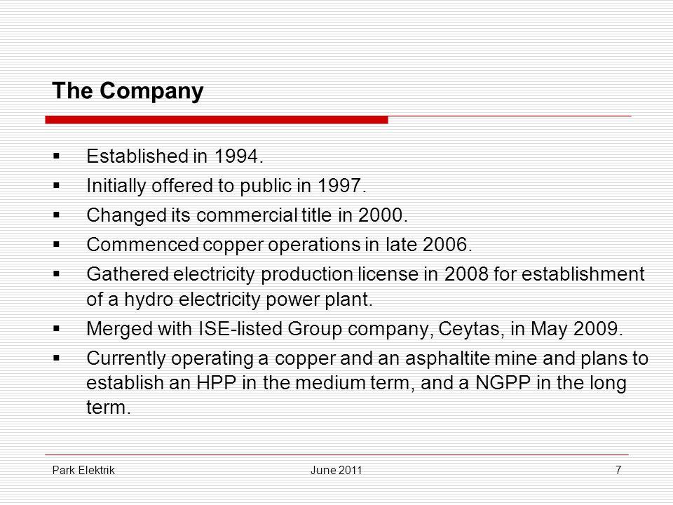 Park ElektrikJune 201118 IV.Planned Investments