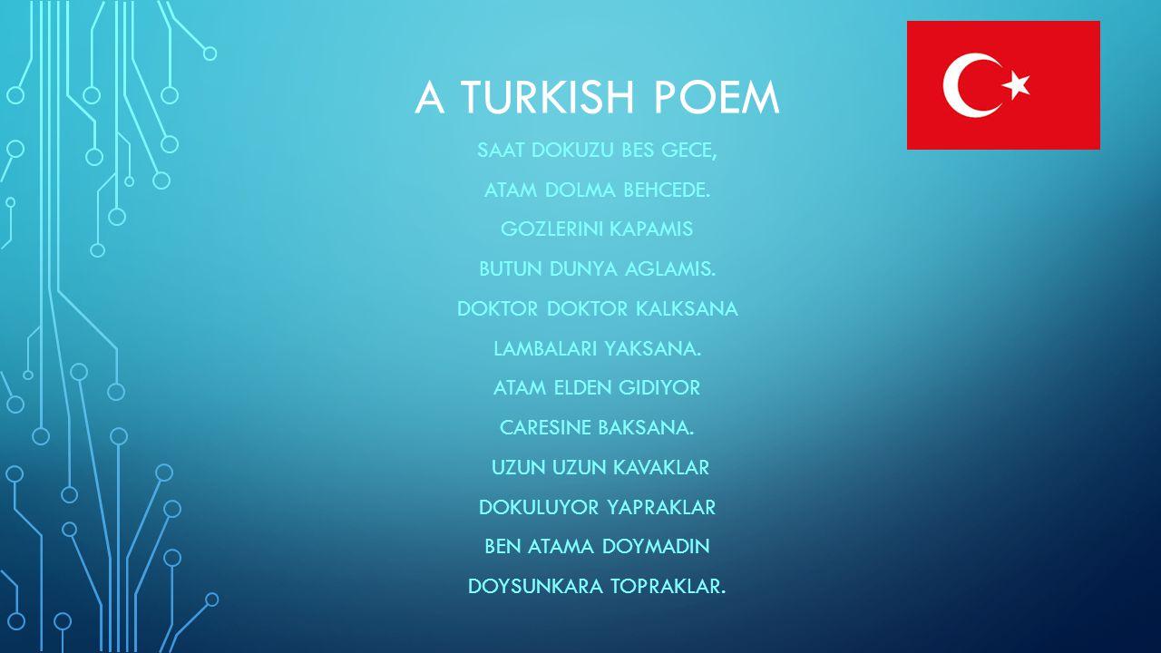 A TURKISH POEM SAAT DOKUZU BES GECE, ATAM DOLMA BEHCEDE.