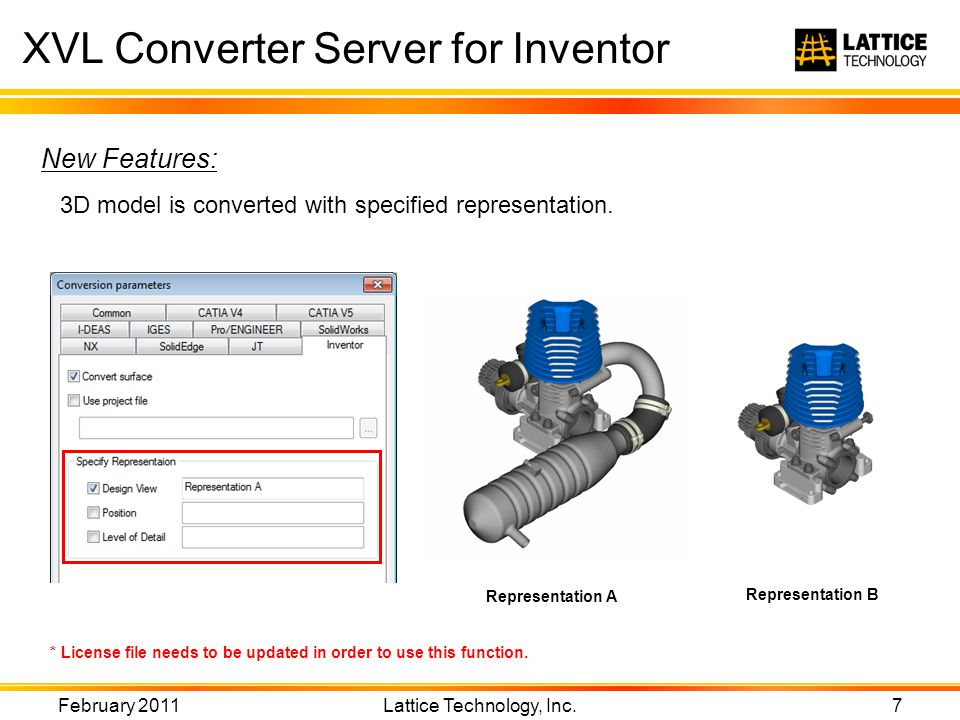 XVL Converter Server for Inventor February 2011 Lattice Technology, Inc.