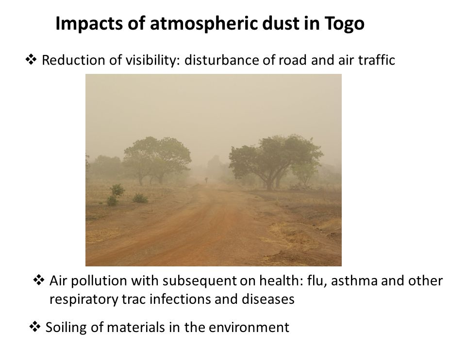 Impacts of atmospheric dust in Togo  Reduction of visibility: disturbance of road and air traffic  Air pollution with subsequent on health: flu, ast