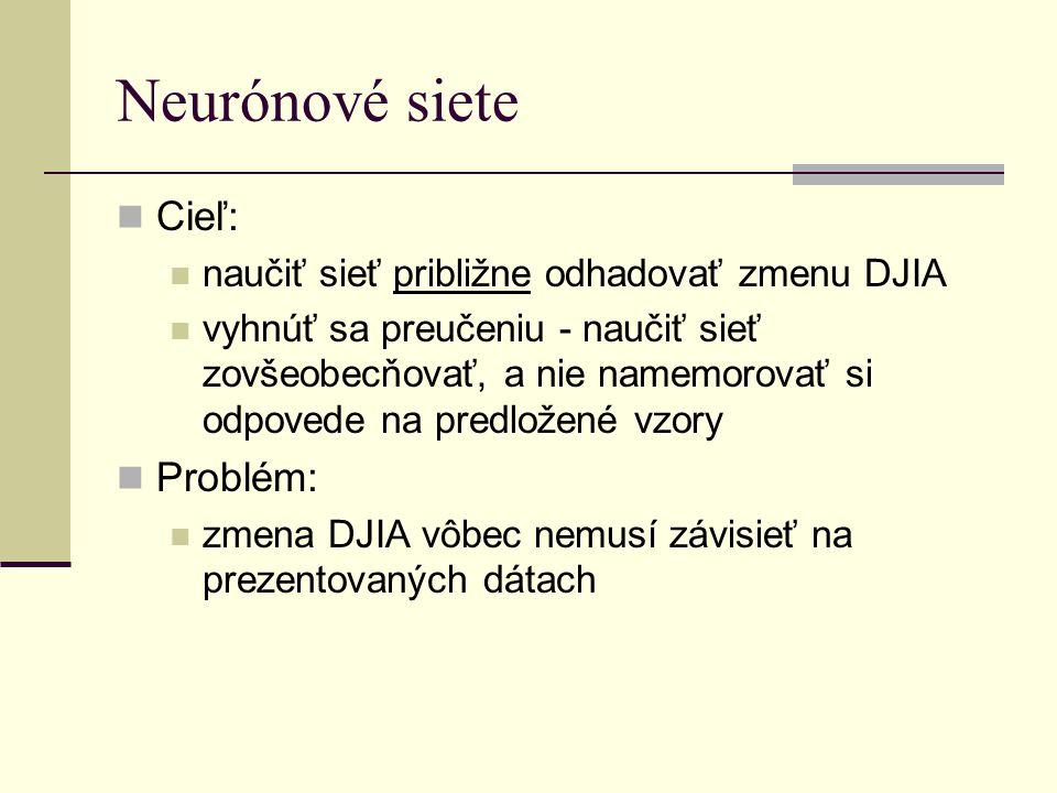 Neurónové siete Cieľ: naučiť sieť približne odhadovať zmenu DJIA vyhnúť sa preučeniu - naučiť sieť zovšeobecňovať, a nie namemorovať si odpovede na pr