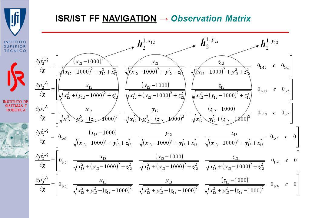 INSTITUTO DE SISTEMAS E ROBÓTICA ISR/IST FF NAVIGATION → Observation Matrix