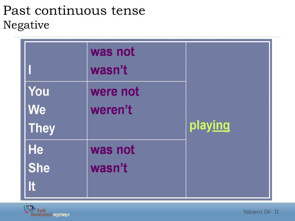 Past continuous tense Negative Yabancı Dil- II
