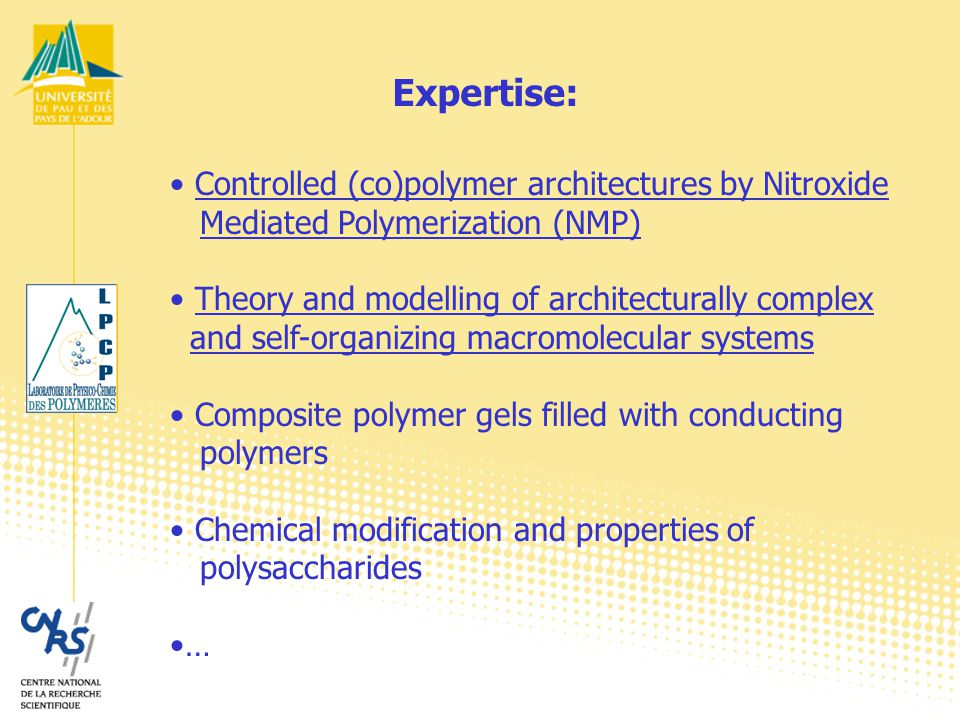 Controlled (co)polymer architectures by Nitroxide Mediated Polymerization (NMP) Laurent Billon