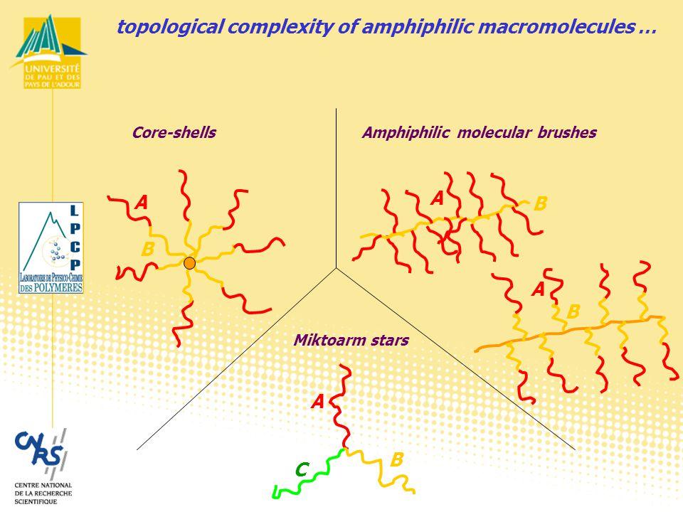 Core-shellsAmphiphilic molecular brushes Miktoarm stars A A A A C B B B B topological complexity of amphiphilic macromolecules …